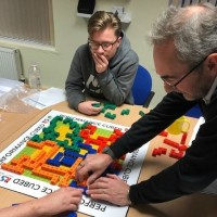 Team Engaging in Cubes